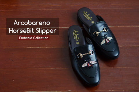 Slipper Horsebit Bee Embroid