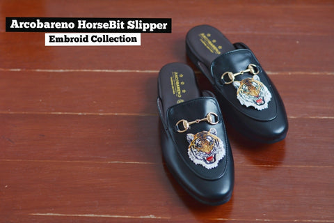 Slipper Horsebit Lion Embroid