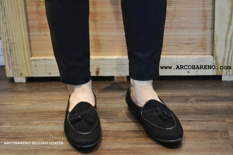 Suede Black Belgian Loafers