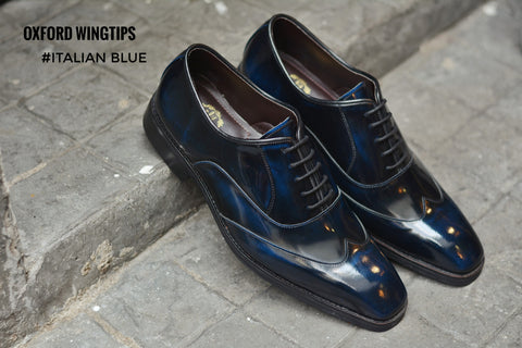 502-1 New Oxford Shoe Wingtip Italian Blue