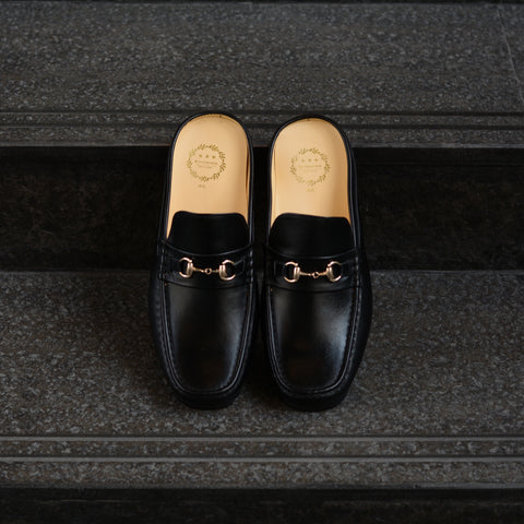 701 Penny Slipper Matt Black Flat Soles