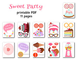 Sweet Shoppe Photo Booth Props, Printable Sweet Candy Cupcake PhotoBooth Props, 0034