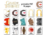 Game of Thrones Photo Booth Props, Printable Killing Game Party PhotoBooth Props, 0050