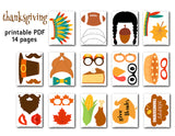 Happy Thanksgiving Party Photo Booth Props, Printable Fall Festival PhotoBooth Props, 0104