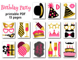 Happy Birthday Photo Booth Props, Printable Pink/Gold Birthday Party PhotoBooth Props, 0194