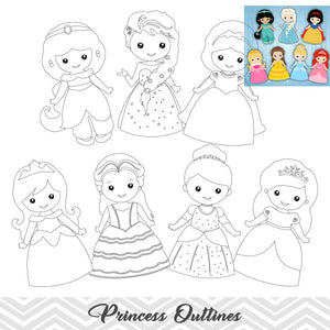 Disney Princess Outline Clip Art, Snow White\Cinderella\Belle\Sleeping Beauty\Ariel\Jasmine\Fronzen Elsa, 00292