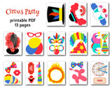 Circus Party Photo Booth Props, Printable Carnival Party PhotoBooth Props, 0373