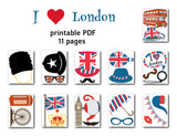 British Party Party Photo Booth Props, Printable England London Travel PhotoBooth Props, 0398