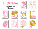Baby Girl 1st Birthday Photo Booth Props, 0413