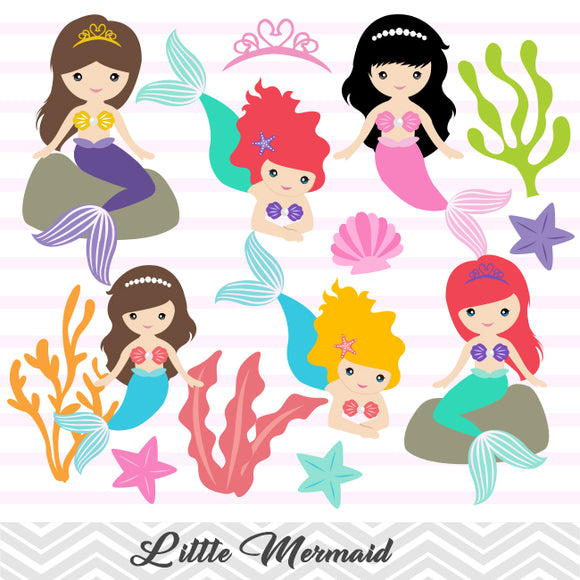 Little Mermaid Digital Clip Art, Mermaid Princess Clipart, 00188