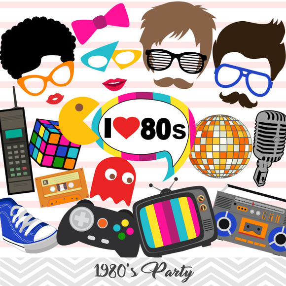 1980's Party Photo Booth Props, Printable Retro 1980s Party Photo Booth Props, 0385
