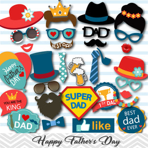 Happy Father's Day Photo Booth Props, Printable Love Dad Party PhotoBooth Props, 0284