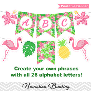Printable Hawaiian Bunting, Pineapple Aloha Banner, Printable Tropical Party Bunting, Luau Party Banner 00286