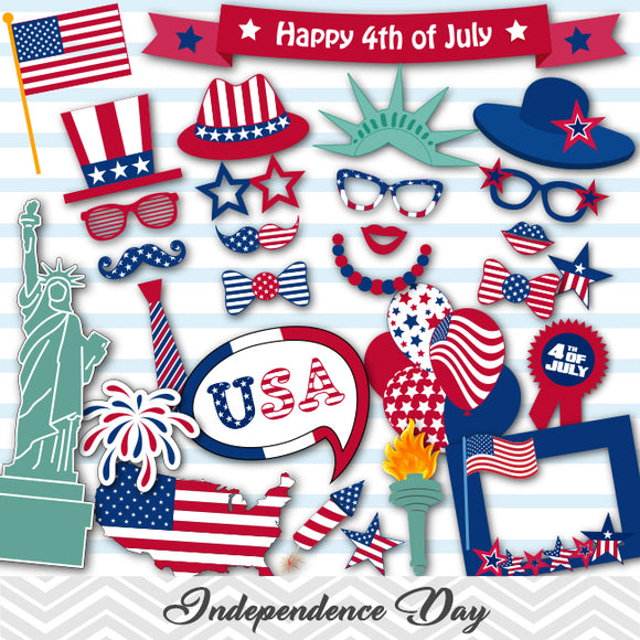 USA Independence Day Photo Booth Props, Printable 4th of July Memorial Day Celebration Party PhotoBooth Props, 0157