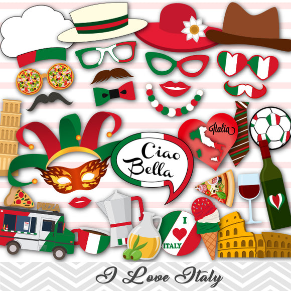 Italy Party Photo Booth Props, Printable Inspired Italian Party PhotoBooth Props, 0046