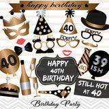 40th Birthday Photo Booth Props, Gold Silver Thirty Birthday Party Photo Booth Props, 0002