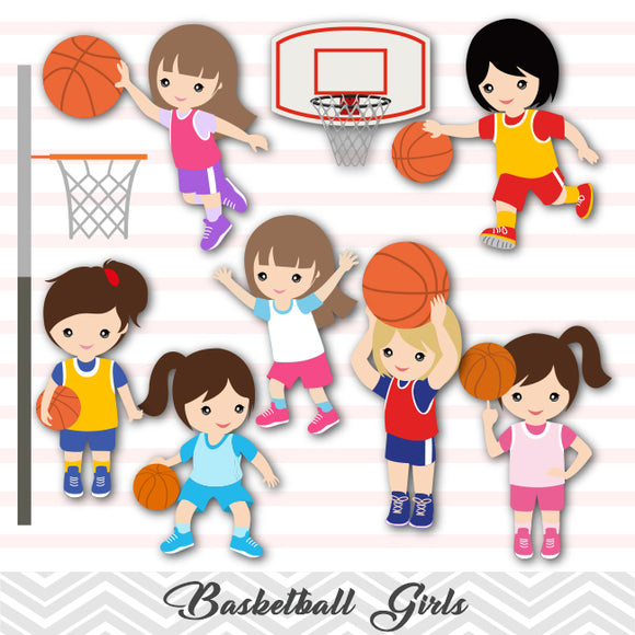 Girls Basketball Digital Clip Art, Sport Girls Basketball Team Clipart, 00258