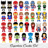 62 Superhero Boys and Girls Digital Clipart, Superhero Avengers Boys and Girls Clip Art 00263