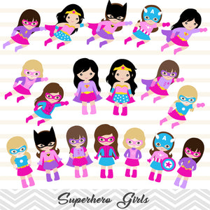 27 Superhero Girls Digital Clip Art, Little Girl Superhero Clipart, Avengers Clip Art, 00235