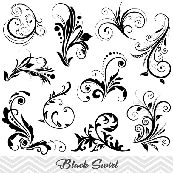 Black Flourish Swirl Clip Art, Digital Scrapbooking Embellishments Decor, 00082