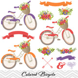 Digital Floral Bicycle Clip Art, Wedding Clip Art, Purple Blue Bicycle Clipart, Flower Banner Arrow Clipart 0125