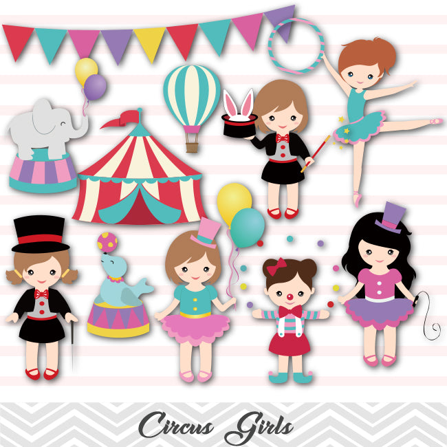 Pink Circus Digital clipart / Girls Circus clip art for | Etsy |Circus Girl Art Print