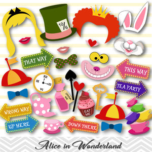 Printable Alice in Wonderland Party Photo Booth Props, 0380