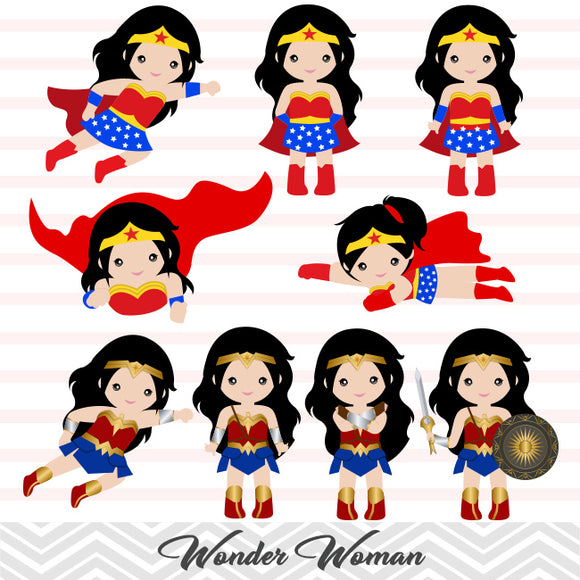 Wonder Woman Digital Clip Art, Superhero Clipart, 0148