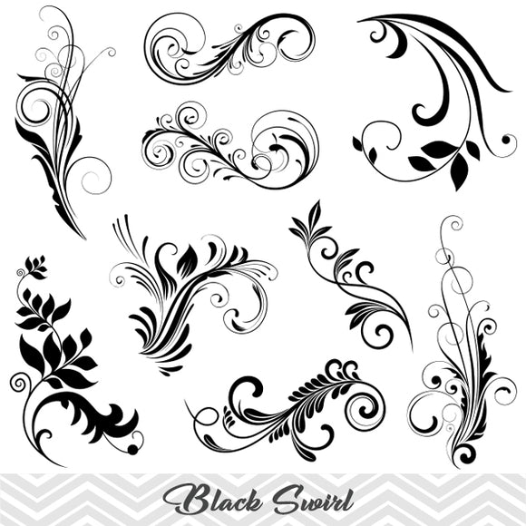 Black Flourish Swirl Clip Art, Digital Scrapbooking Embellishments Decor, 00086