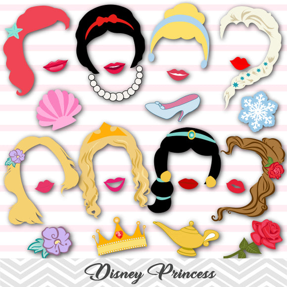 Disney Princess Photo Booth Props, Cinderella/Snow White/Belle/Ariel/Sleeping Beauty/Jasmine, 0303