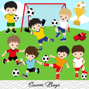 Boys Soccer Digital Clip Art, Sport Boys Soccer Team Clipart, 00256