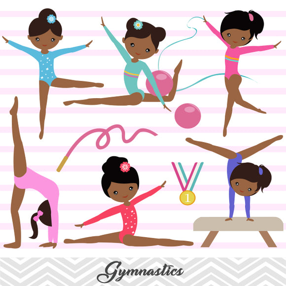 African American Girls Gymnastics Digital Clip Art, Gymnast Girl Clipart, 00204