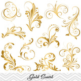GOLD Flourish Swirl Clip Art, Digital Scrapbooking Embellishments Decor, 00084
