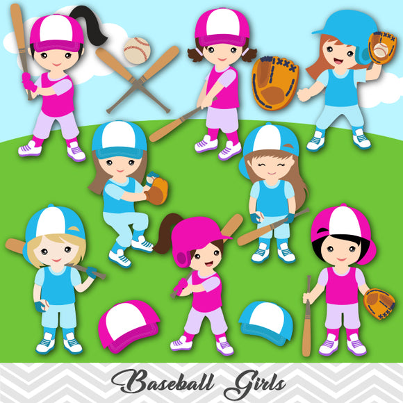 Girls Baseball Digital Clip Art, Sport Girls Baseball Team Clipart, 00255