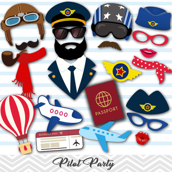 Pilot Photo Booth Props, Airplane Pilot Aviator Photo Booth Props, 0351