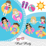 Girls Pool Party Clip Art, Girls Swim Party Clipart, Summer Pool Party Clipart, 00197