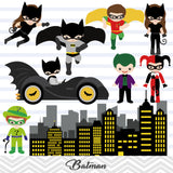 Batman Digital Clip Art, Joker and Harley Quinn Clipart, Superhero Clipart, 00200