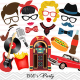 1950's Party Photo Booth Props, Printable Retro 1950s Party Photo Booth Props, 0401