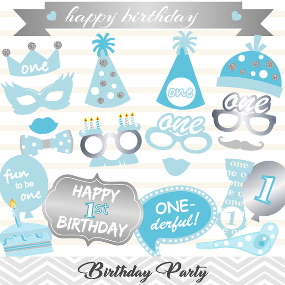 Baby Boy 1st Birthday Photo Booth Props, 0416