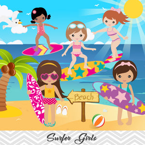 Surfing Girl Digital Clip Art, Summer Beach Party Clipart, Surfer Girl Clip Art, 00164