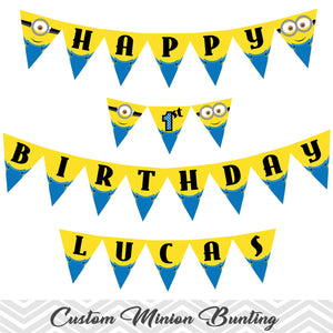picture about Printable Minion titled Printable Minion Bunting, Printable Minion Banner, Minion Birthday Celebration Banner, 00006
