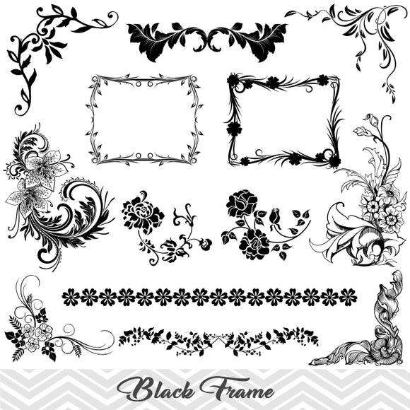 Black Frame Border Clipart, Flower Flourish Swirl Frame Clip Art, Scrapbook Embellishment Decor, 00005