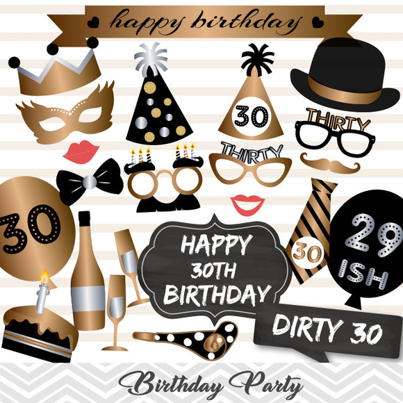 30th Birthday Photo Booth Props, Gold Silver Thirty Birthday Party Photo Booth Props, 0001