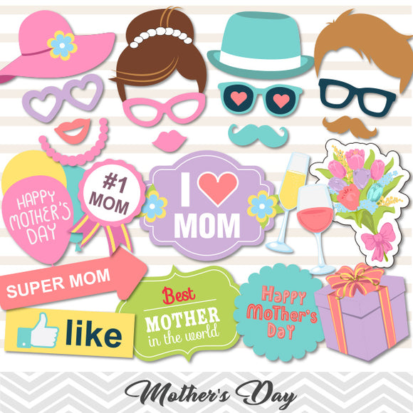 Happy Mother's Day Photo Booth Props,  I Love Mom Photo Booth Props, 0180