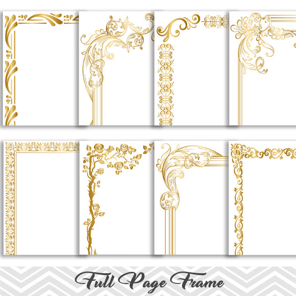 8 Gold Digital Full Page Border Clip Art, Full Page Border Clipart, 0114