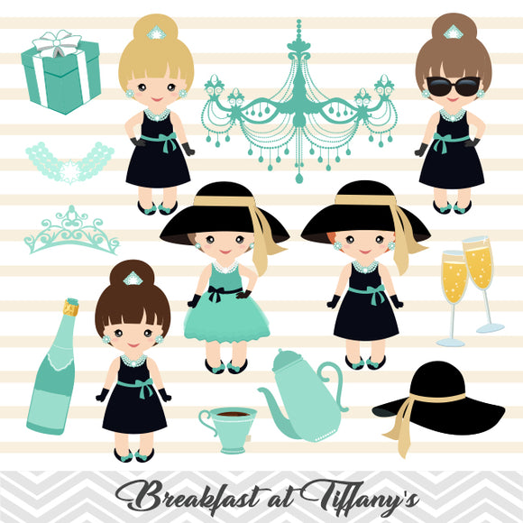Breakfast at Tiffany's Digital Clip Art, Chic Girls Tiffany Party Clipart, 00266