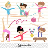 Girls Gymnastics Digital Clip Art, Gymnast Girl Clipart, 00192