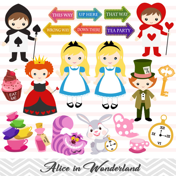 Alice in Wonderland Digital Clipart, Alice in Wonderland Clip Art, 00228