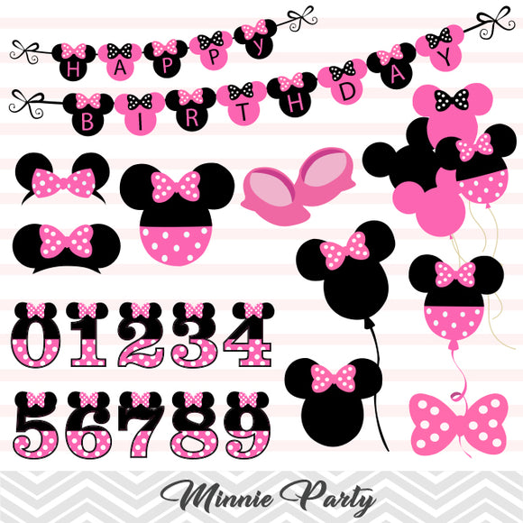 Pink Minnie Digital Clip Art, Pink Minnie Party Clipart, 00173