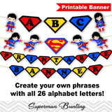 Printable Superman Banner, Digital Superman Bunting, Printable Superhero Party Banner, Superman Birthday Party Bunting 0287